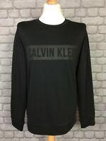 CALVIN KLEIN MENS UK M BLACK PERFORMANCE BOX LOGO CREW SWEATSHIRT RRP £70