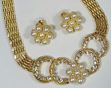 Necklace Earrings GoldTone Faux Pearl Clear Glass Rhinestone Wedding Classy#3757