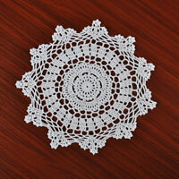 4Pcs/Lot White Vintage Hand Crochet Lace Doilies Round Cotton Table Mats 12inch