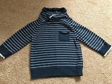 Next Baby Boys Turtle Neck Polo Neck Navy Blue White Stripe Jumper 9-12 Months