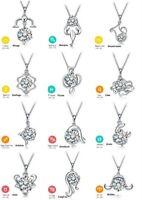 Halskette mit Anhänger Sternzeichen Tierkreiszeichen Solitär Kristall weiss