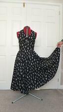 Notas Musicales Negro Estilo Vintage Hecho A Mano Falda Circular Anudado Vestido Reino Unido 12