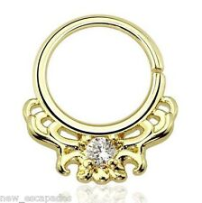 "Septum Nose Gold Plate Fancy w/Clear Gem Annealed 16 Gauge 3/8"" Brass Body Jewel"