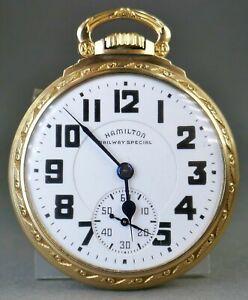 Vtg 1941 Hamilton Railway Special 21 Jewels 992B 10k Gold Fill Pocket Watch WWII