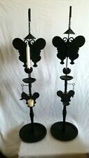 Vtg Black Whimical Iron Victorian Silhouette BUTTERFLY Candle Holder Stand Goth