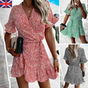 Women Floral Print Ruffle Mini Summer Dress Ladies Holiday Wrap Dresses Sundress