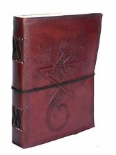 Leather Journal Vintage Look Handmade Wicca Diary Dragon Pentacle Book XMAS Gift