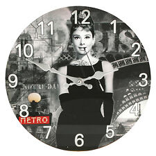 NEW Audrey Hepburn Breakfast at Tiffany's Icon Style Glass Wall Clock 30cm Home