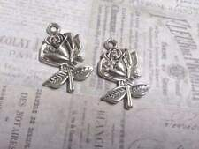 5 Flower Charms Antiqued Silver Rose Pendants Floral Garden Findings