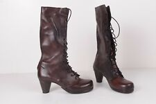 MUNOZ VRANDECIC Rustic Lace up Brown BOOTS W/ 2 1/2 in Heel