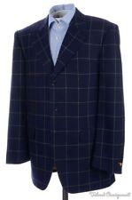 BIJAN Blue Windowpane Check 100% CASHMERe Mens Blazer Sport Coat Jacket - 42 R