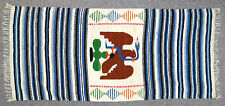 vtg EAGLE SNAKE CACTUS AZTEC Wool Blanket 61x28 Mexico Coat of Arms Rug Striped