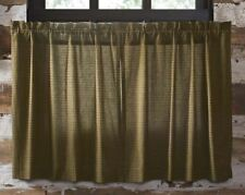"Deep Olive Green Plaid Cafe Curtains Lined Tea Cabin Window Tier Set 36"" Long"