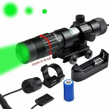 Adjustable Green Laser Sight Designator Illuminator Flashlight W/Weaver Mount