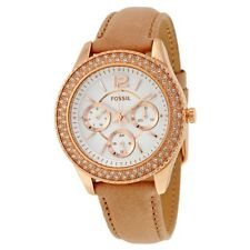 Fossil Ladies Stella Sand Leather Strap Chronograph Watch ES3816