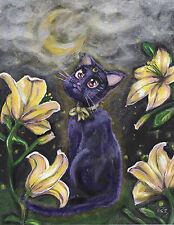Sailor Moon Luna with Lillies fanart Canvas print 8x10  anime cat