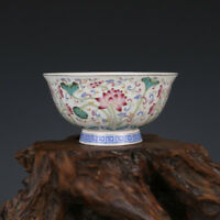 China antique Porcelain Qing qianlong famille rose hand painting Lotus bowl