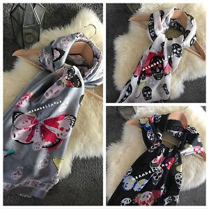 Ladies Women Skull Butterfly Scarf Scarves Shawl Wrap Black White Grey New UK