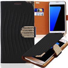Strass Handy Tasche Schutz Hülle Wallet Case Flip Cover Für HTC One M8 Schwarz