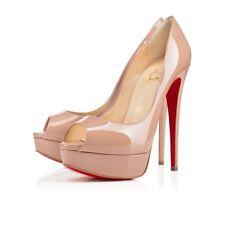 e4d77bc04e01 Christian Louboutin Lady Peep 150 Nude Patent Platform Peep Toe Heel Pump 36