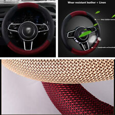 38cm Car Steering Wheel Cover Protector Black + Red PU Leather and Linen fabric