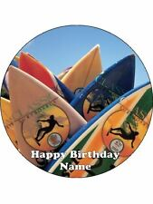 SURF BOARDS 19CM EDIBLE ICING IMAGE BIRTHDAY CAKE TOPPER