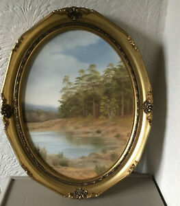 Vintage Antique/French style Oval Swept Gold Gilt Picture Frame with Oil #6477