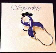 Purple Ribbon ID Badge Eyeglass Holder Pin Awareness Relay for Life Cancer Cause