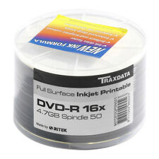 600 x TRAXDATA 16X BRANDED DVD-R FullFace Printable 4.7Gb Disks 12x50 spindles