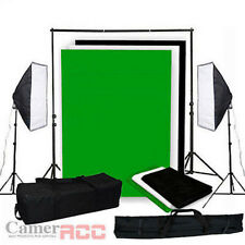 1250W Fotostudio Studioleuchte Studioset Softbox 3x1,6 Hintergrundsystem Stativ