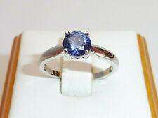 Ladies Sterling 925 Fine Silver Brilliant Cut 0.75 Ct Tanzanite Solitaire Ring