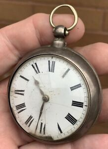 A EARLY ANTIQUE SOLID SILVER VERGE / FUSEE BUNGAY POCKET WATCH 1842...WORKING