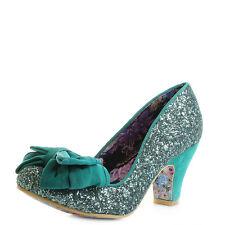 Womens Irregular Choice Ban Joe Green Glitter Mid Heeled Court Shoes Size
