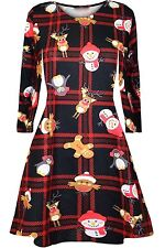 Women's Girls Kids Snowman Christmas Print Flared Skater Mini Swing Dress Top