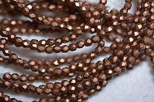 Czech Fire Polished 3mm round faceted glass beads - Matte Metallic Bronze Copper