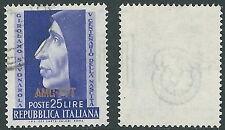 1952 TRIESTE A USATO SAVONAROLA FILIGRANA LETTERA - L30