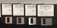 1988 Skillsearch 4 Floppy Disk Set Windows Skill Search Software Vintage Program