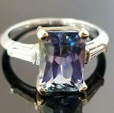 Fashion 5TCW Fancy Cut Tanzanite Baguette Diamond 18k gold ring