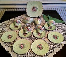 Beautiful Green Foley Rare Vintage Tea Set.   Anemones - 15 Pieces Perfect