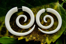 Medium Spiral White Bone Earrings  Fake Gauge Organic Bone  Earrings
