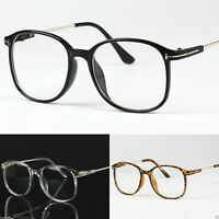 Large Frame Oversized Clear Lens Vintage Retro Glasses UV400 Anti Blue Light
