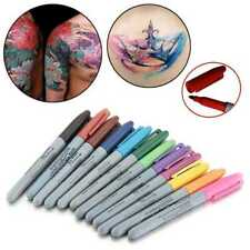 1Set 12 Colors Tattoo Skin Marker Tips Pen Medical Surgical Scribe Pen S7E2