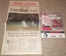 MARK MCGWIRE LOT 9/8/98 HR #62 SCORECARD AND NEWSPAPER ST LOUIS CARDINALS