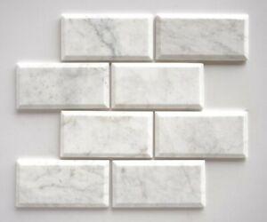 Marble Tiles, Bianco Calacatta Deep Beveled Polished Subway Marble Tile 70x140mm