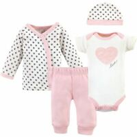 Touched by Nature Organic Preemie Layette Set, 4-Piece Set, Pink/Gray Scribble