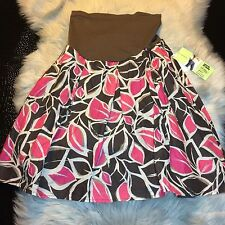 NWT Motherhood Maternity Brown/Pink Perfect Fitting Maternity Skirt Size S Nice!
