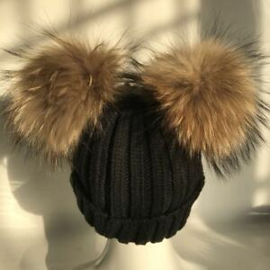 Real Raccoon Fur Double 2 Pompom Ball Black Knitted Knit Hat Beanie Cap Warm Hat