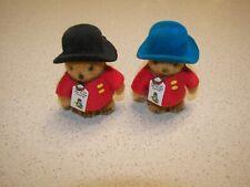 """Two Vintage Mini 2.75"""" Paddington Flocked Bears"""