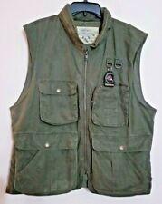 Banana Republic Army Green Hunting Safari Vest, Many Pockets, Stowed Hood Sz L