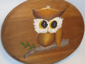 Vtg Wood Plaque Big Eyed Owl Painting Primitive Cabin Shabby Country Chic Decor